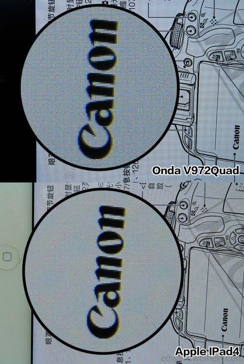 Onda V972 vs iPad4 9 a