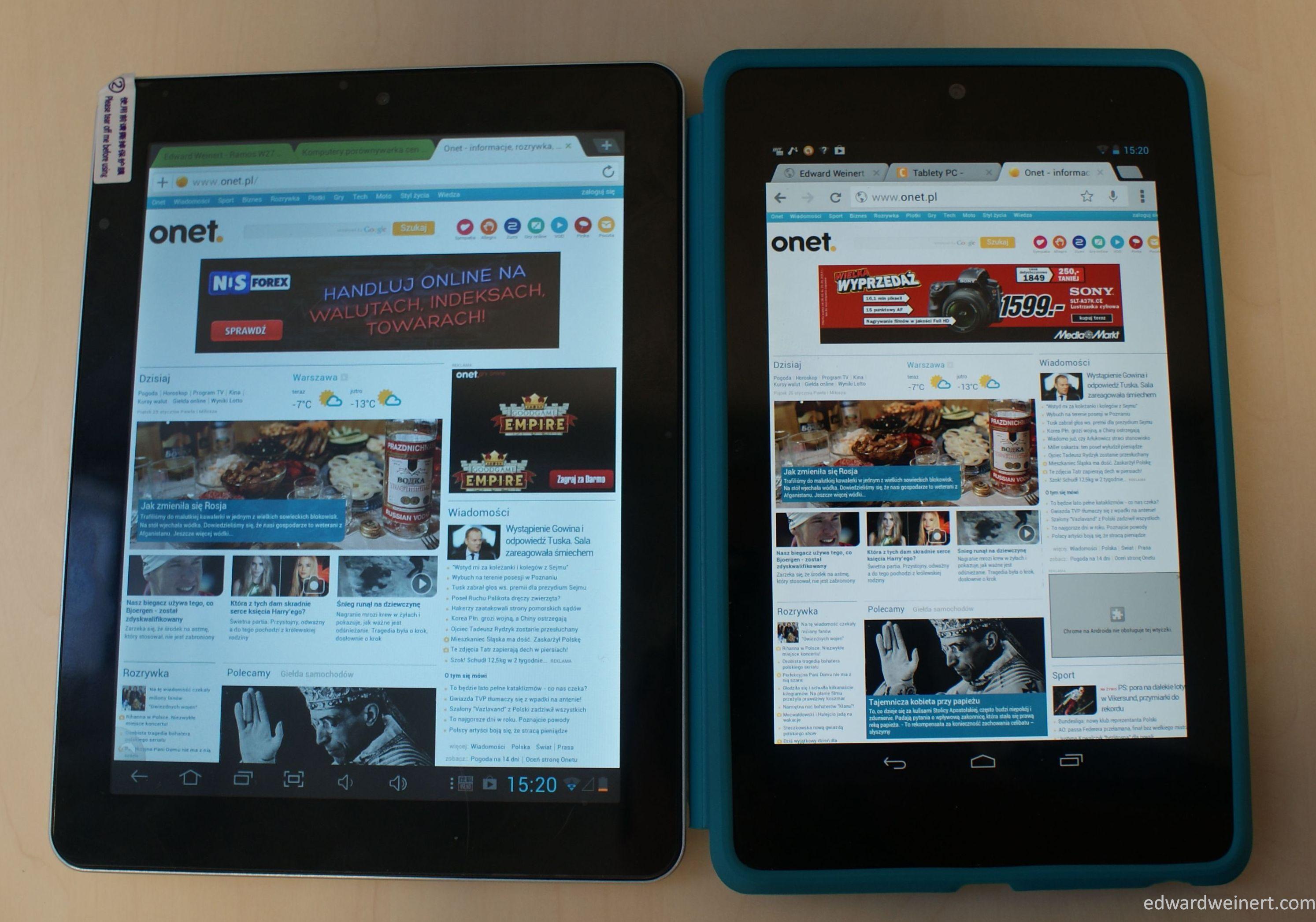Onda V812 (po lewej) i Google Nexus 7